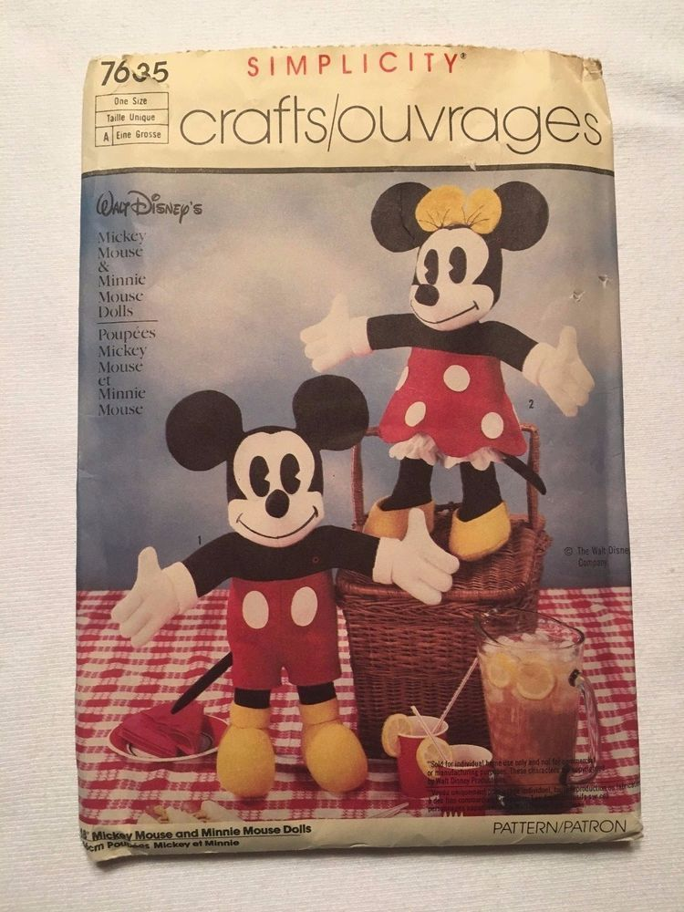 Simplicity Sewing Pattern #7635 - Mickey Mouse and Minnie Mouse ...