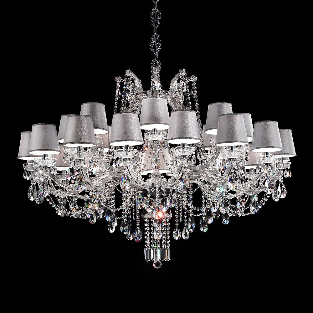 Maria Theresa 5 light Chrome Finish and White Crystal Chandelier 19