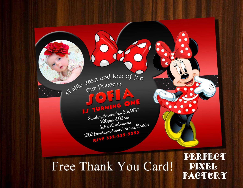 Minnie Mouse invitation, Minnie Mouse Birthday, Minnie invitation ...