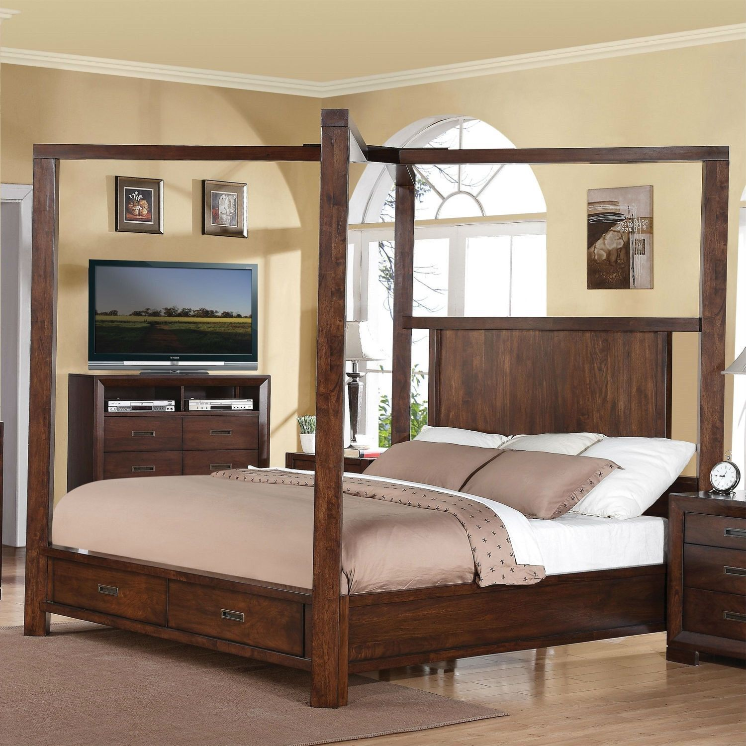 Contemporary Queen Size Wood Canopy Bed with Storage Drawers in Walnut Finish & Contemporary Queen Size Wood Canopy Bed with Storage Drawers in ...