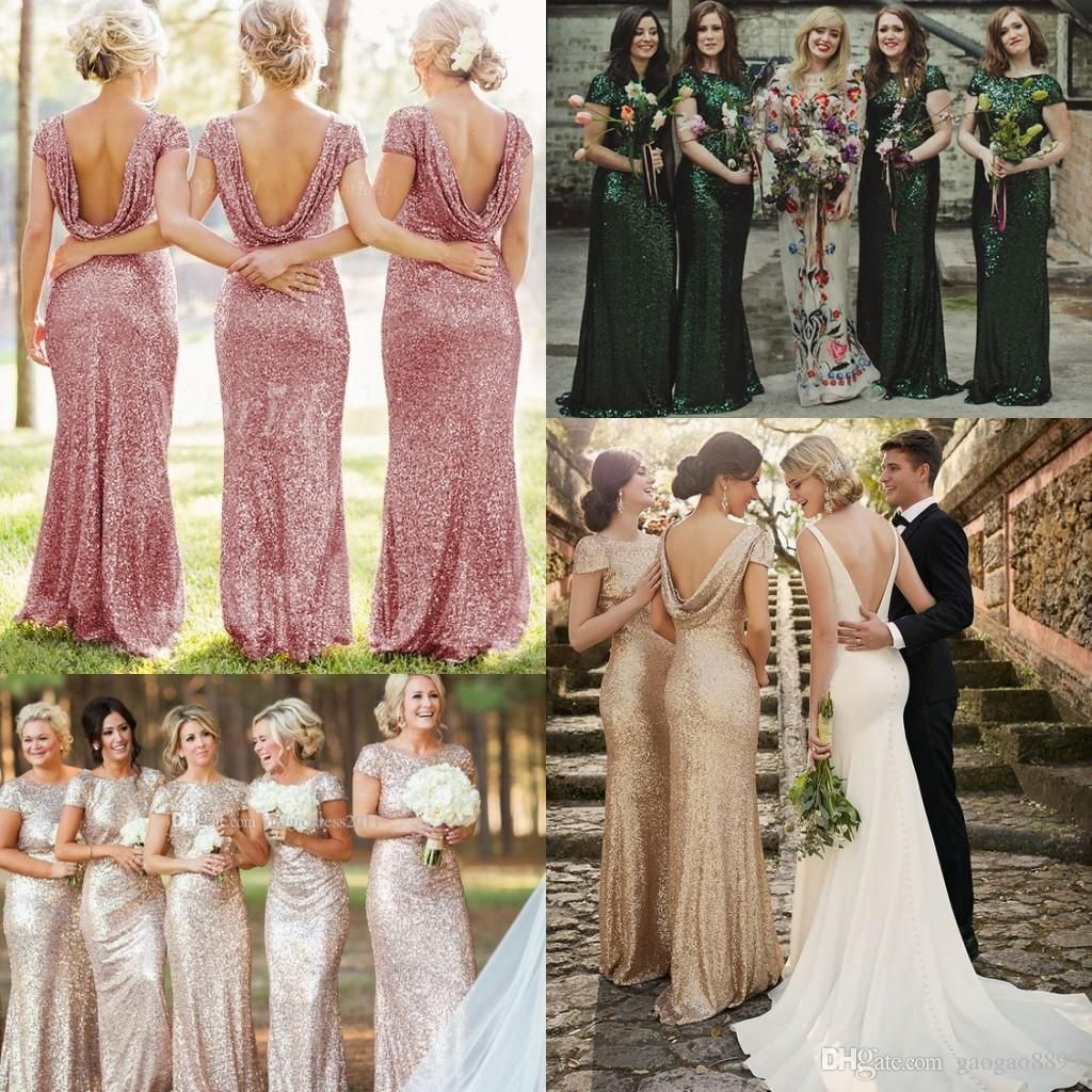 Cowl Back Bridesmaid Dress: Sequined Emerald Formal Cowl Low Back Cap Sleeve