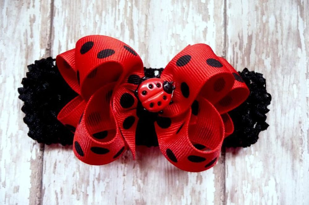 LADYBUG hair bow headband baby boutique Red Black grosgrain Cici s Bow Boutique