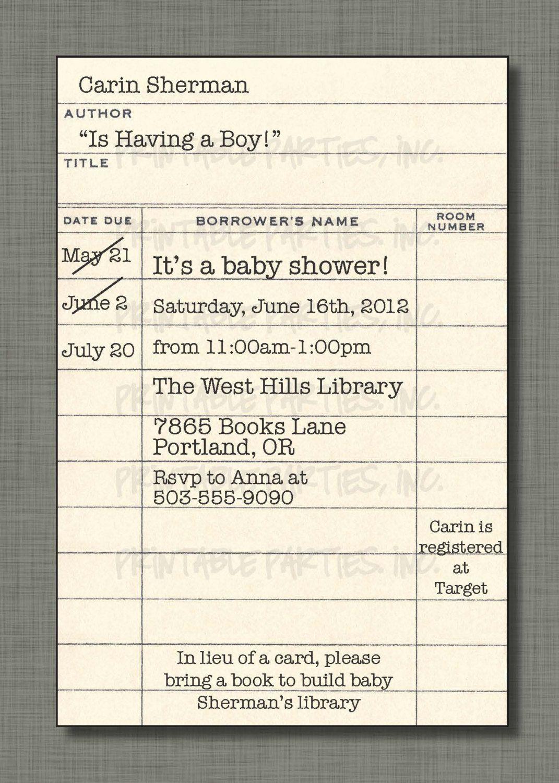 Library Card Invite Birthday Book
