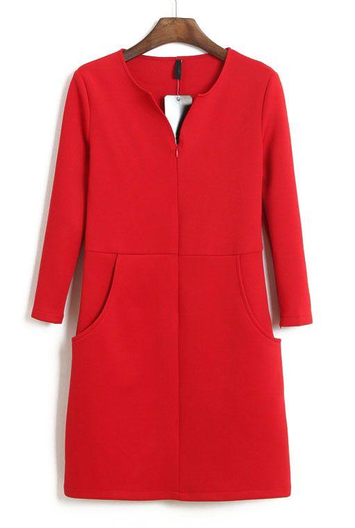 Red V Neck Long Sleeve Split Bodycon Dress - WoW under 30