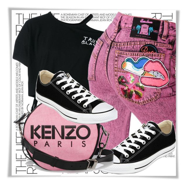 """""""Pink jeans"""" by dmg555 ❤ liked on Polyvore featuring Ann Demeulemeester, Marc Jacobs, Converse and Kenzo"""