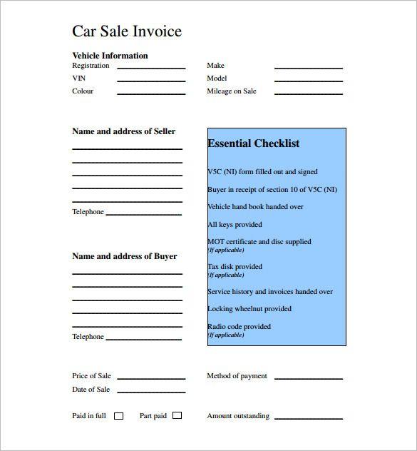 5  car receipt template