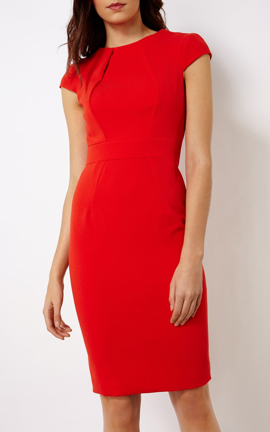 6c5100b5ecb48ed RED PENCIL DRESS | Luxury Women's dresses | Karen Millen | km ...