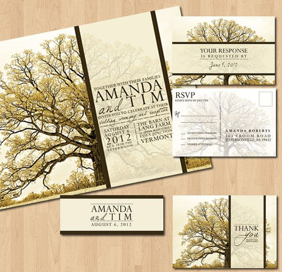 Printable Vintage Tree Wedding Invitations Inkoverpaper 50 00 Via Etsy