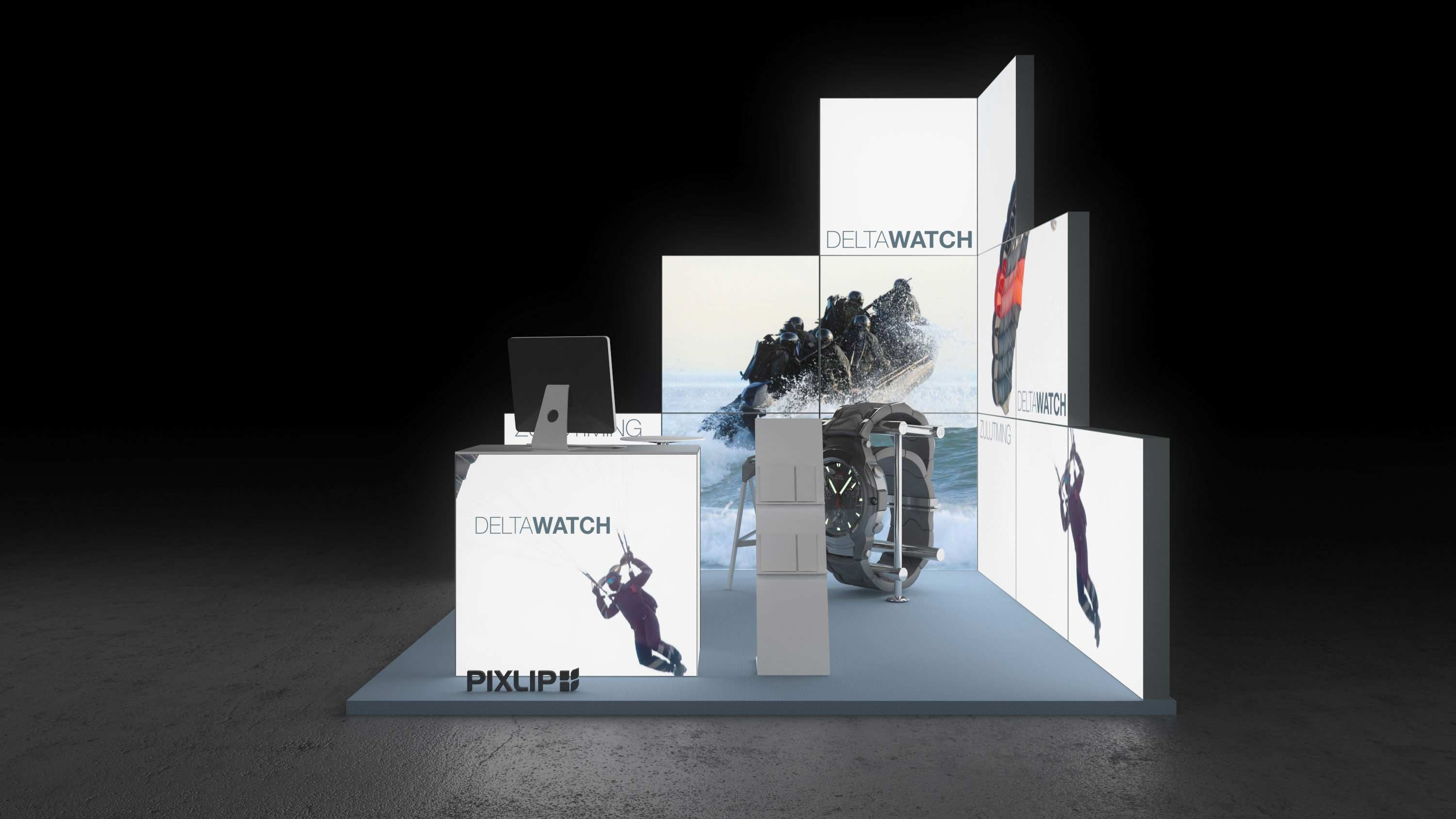 Backlit Exhibit Stand Light Wall Elements With Textile Print Messestand Design Messewand Messestand