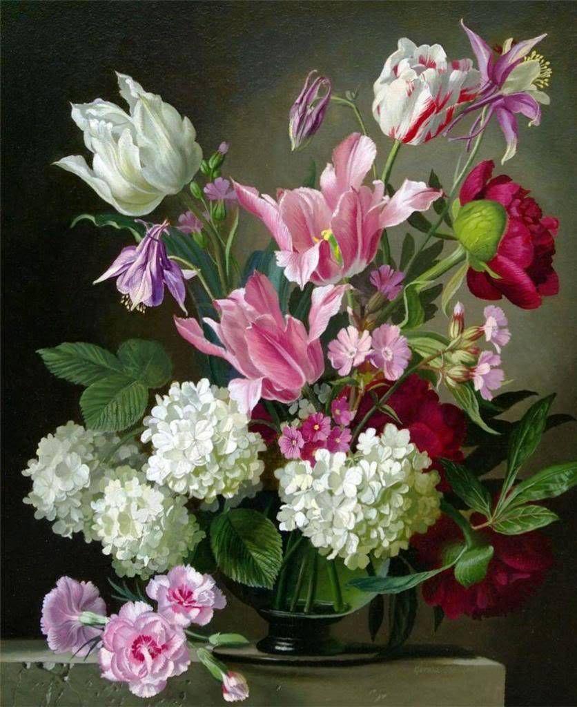 Художественные открытки с цветами