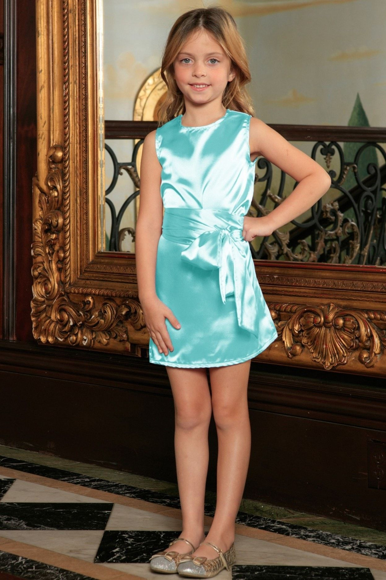 329cbbe29dfc Light Blue Charmeuse Sleeveless Spring Shift Dress With Belt - Girls