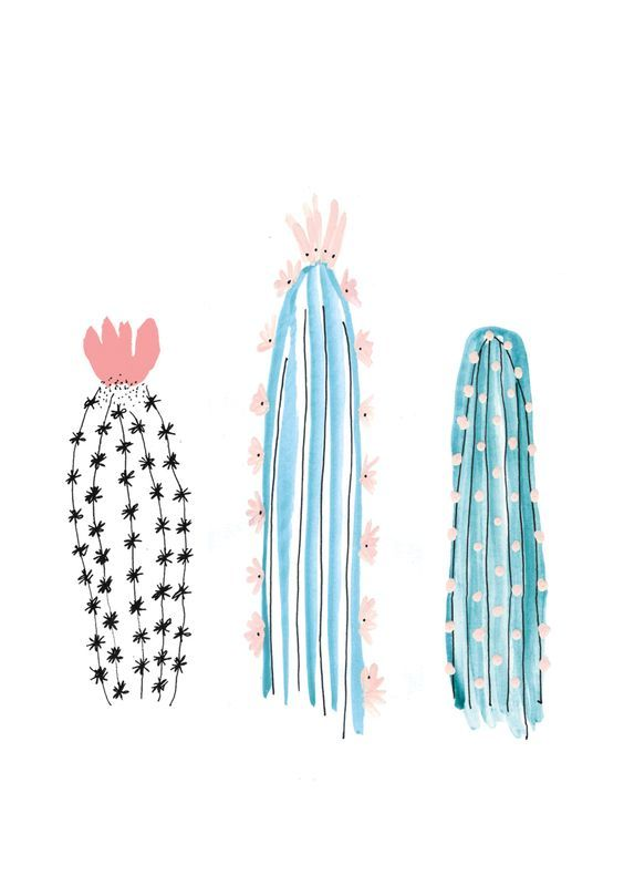 cactus -- illustration - imagens fofas especialmente garimpada para você! veja mais : www.artecomquiane.com