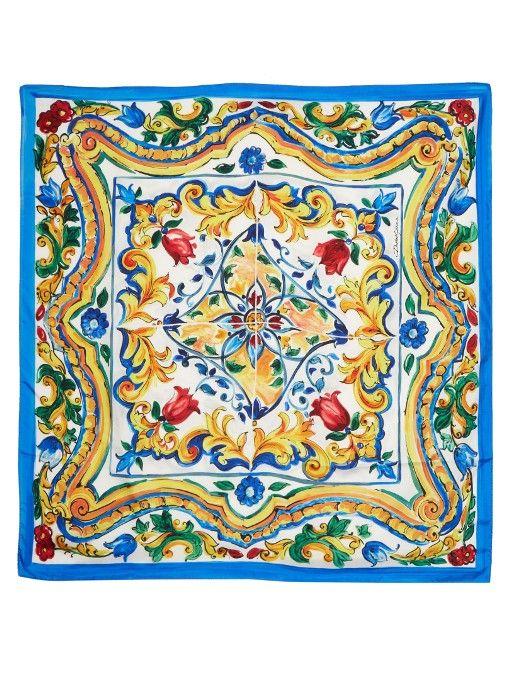 Dolce   Gabbana Majolica-print silk-twill scarf   Scarves in 2019 ... efb3856aa49