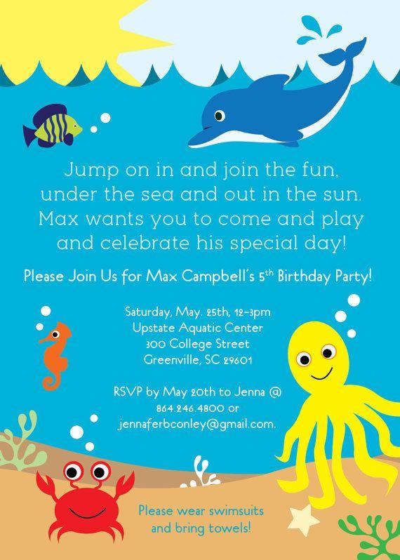 Under The Sea Birthday Party Invitation Printable Boy Or Girl Life Creatures Dolphin Summer Pool Lake DIY Digital File