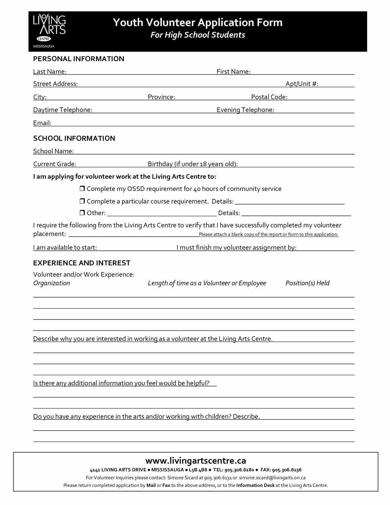 Volunteer Application Form Template Free Fresh Volunteer Application Form Printable To Pin On Volunteer Application Application Form Volunteer Hours Sample volunteer application form template