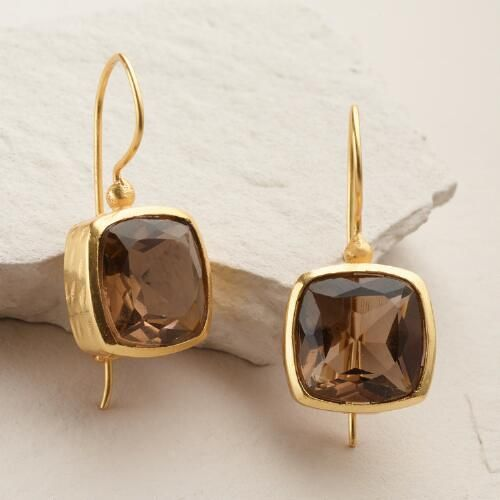 One of my favorite discoveries at WorldMarket.com: Gold Smoky Stone Square Drop Earrings