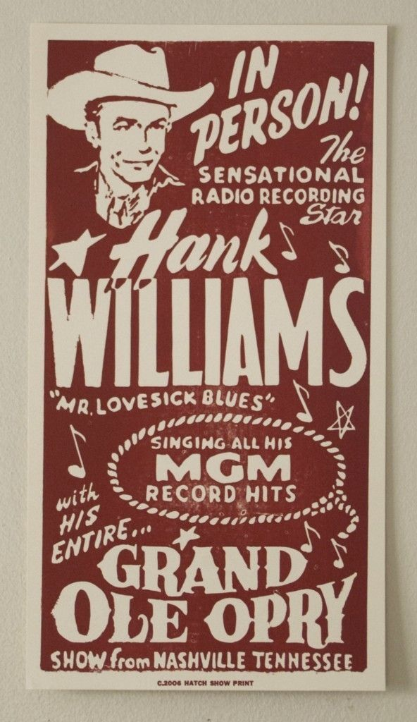 Hank Williams Restrike Hatch Show Print Letterpress Poster Vintage Concert Posters Concert Posters Country Music