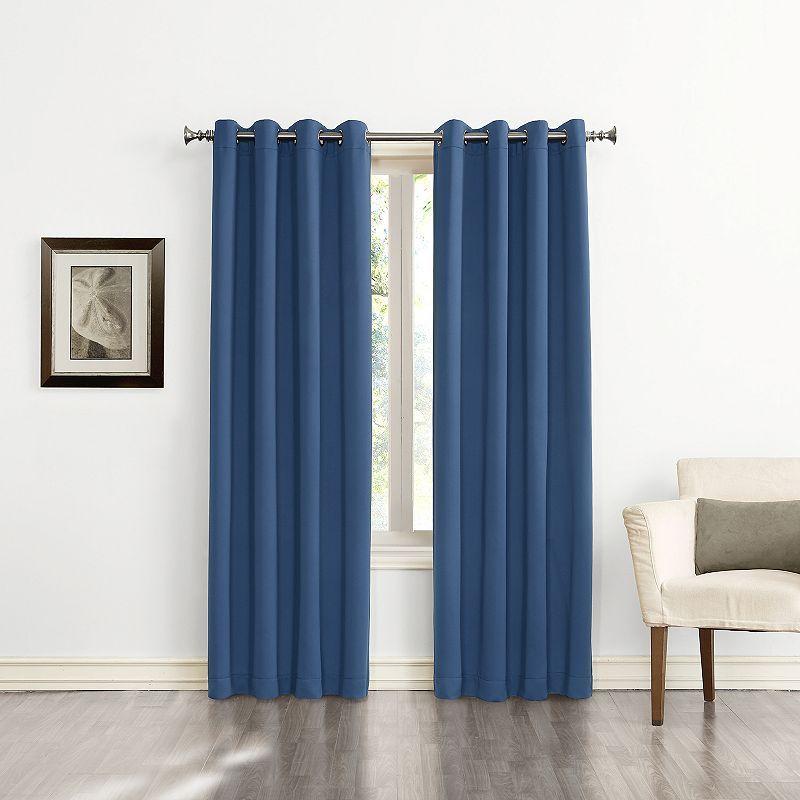 Sun Zero Ludlow Blackout Curtain, Blue