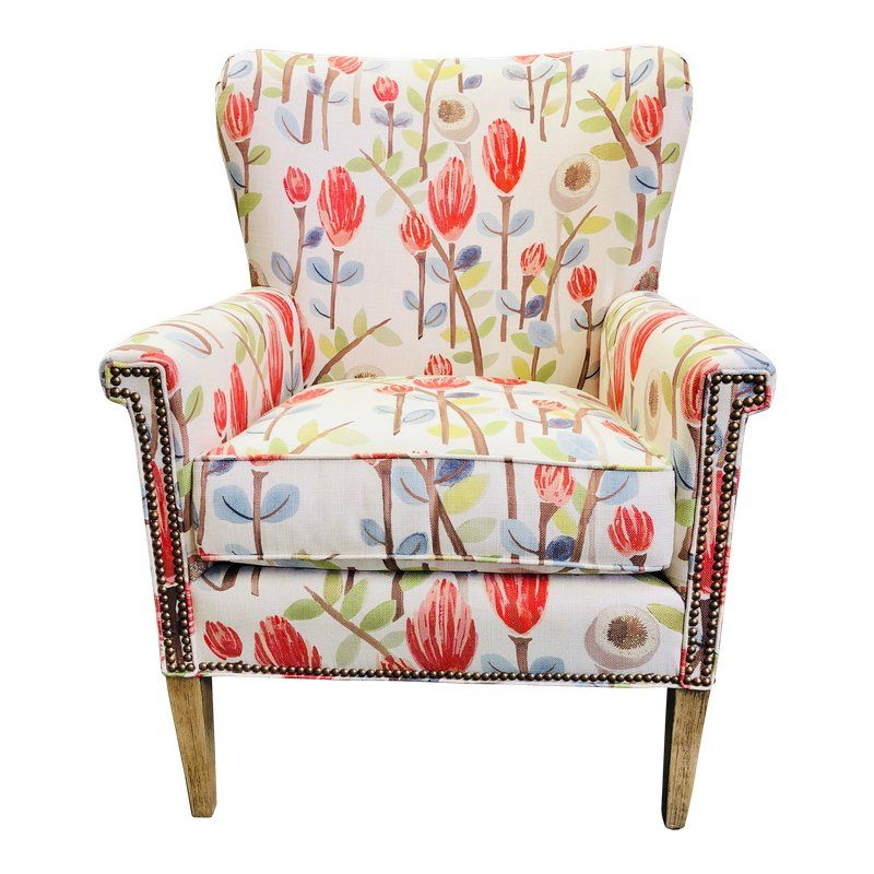 Transitional Floral Upholstered Wing Chair Chair Front Room