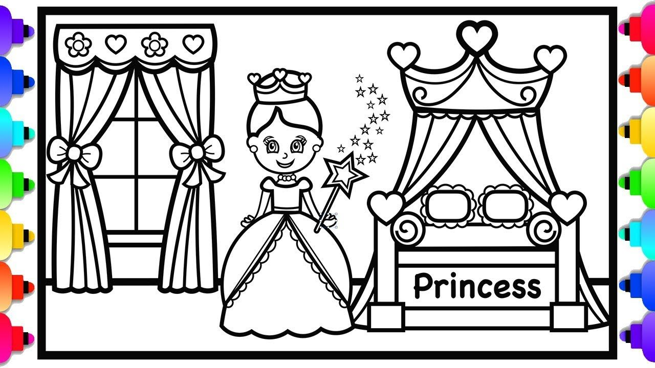 How to Draw a Princess Bedroom with Canopy Bed Step by ...