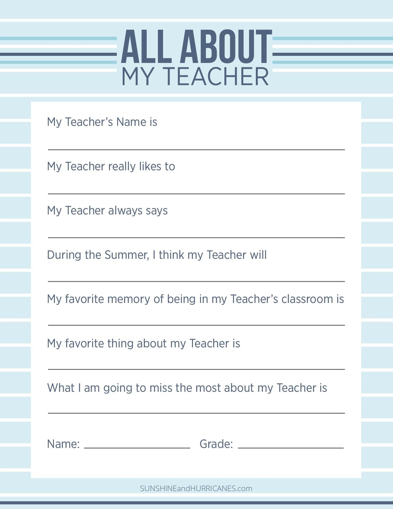 All About My Teacher Printable Questionnaire