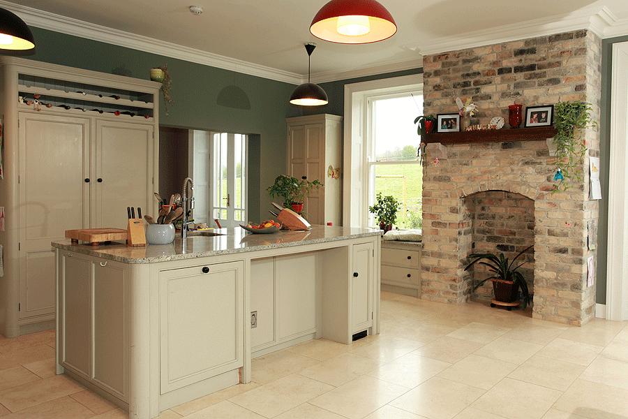 Painted larder and kitchen island in Old White. Millennium