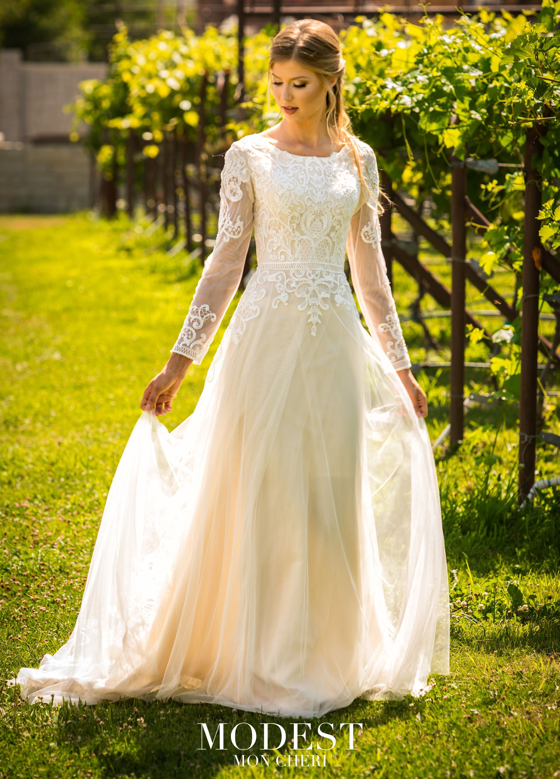 Modest By Mon Cheri Tr11979 Mon Cheri Bridals Wedding Dresses Wedding Dress Champagne Ball Gowns Wedding [ 2560 x 1840 Pixel ]
