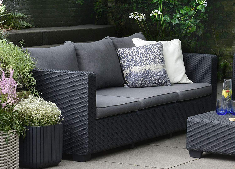 Keter Salta 3-Seater Seating Patio Sofa Sunbrella Cushions in a ...