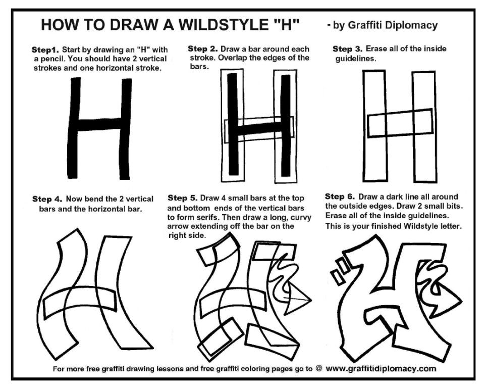 How To Draw A Wildstyle H Free Lesson And Handout Graffiti Drawing Graffiti Tutorial Easy Graffiti