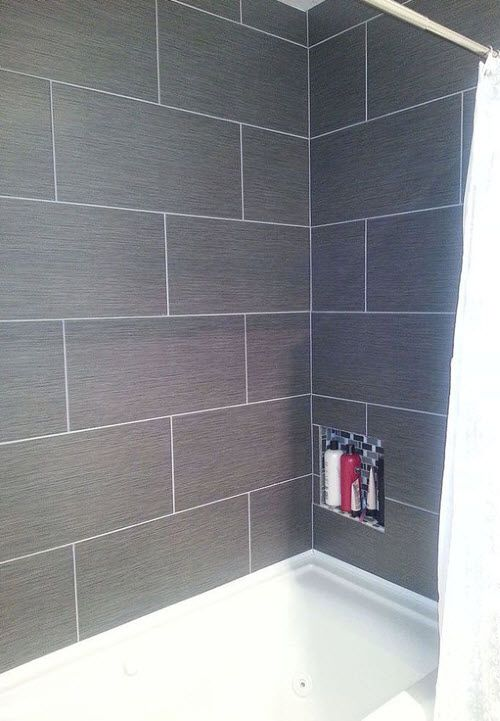 40 Dark Gray Bathroom Tile Ideas And Pictures Master Bathroom Makeover Small Master Bathroom Tile Tub Surround