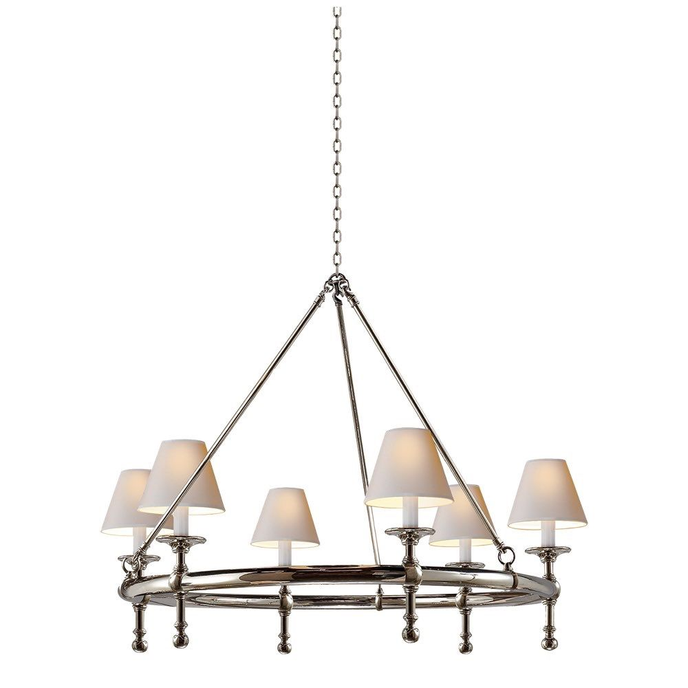 Studio Classic Ring Chandelier in Polished Nickel with Natural Paper Shades  by Visual Comfort SL5812PN- - Studio Classic Ring Chandelier In Polished Nickel With Natural