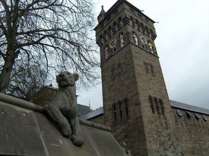 'Lioness' one of the original 9 animal sculptures on what came to be known as the The Animal Wall, when built outside Cardiff Castle. Designed by William Burges in 1866, Now located on the perimeter wall of Bute park, Cardiff, Wales.