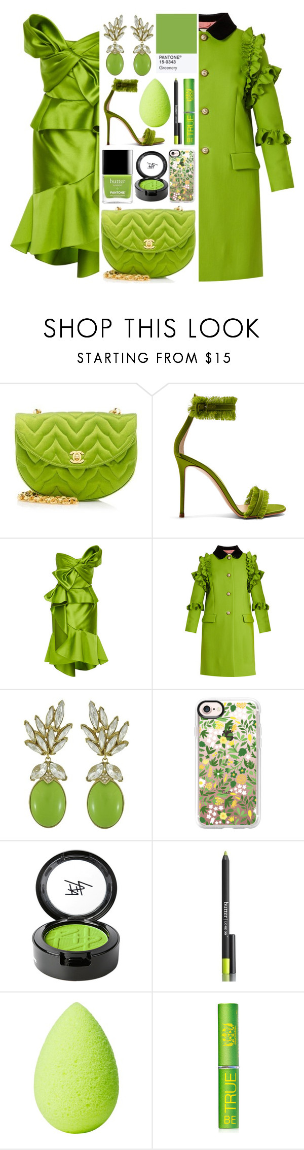 """Lux O' The Irish"" by rachael-aislynn ❤ liked on Polyvore featuring Chanel, Gianvito Rossi, Marchesa, Gucci, Ciner, Casetify, Beauty Is Life, Butter London, beautyblender and Tata Harper"