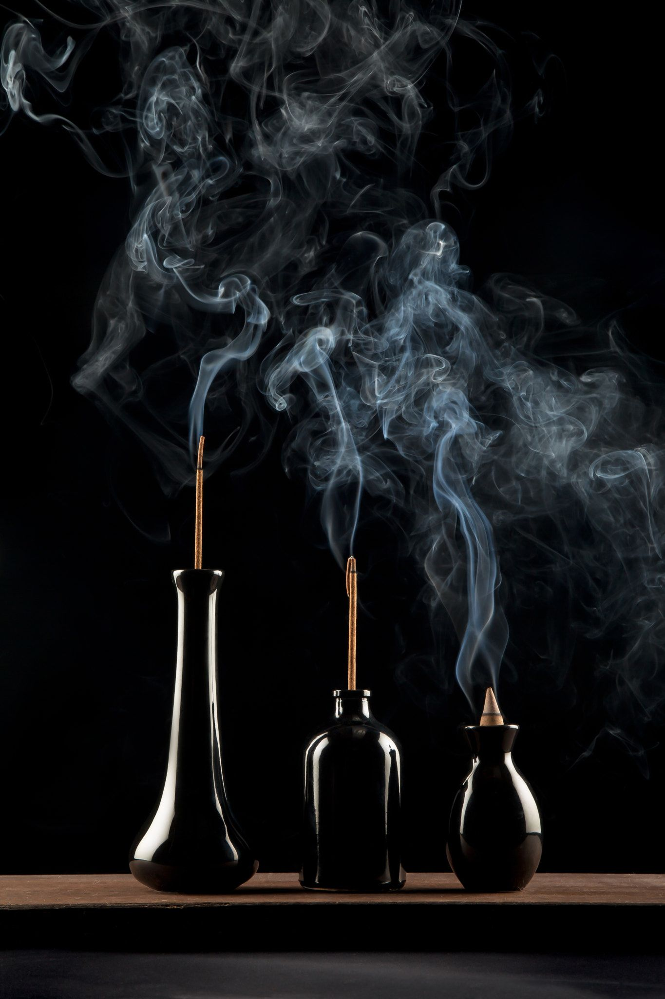 Black Magic  Three Plumes Of Incense Smoke Rise From