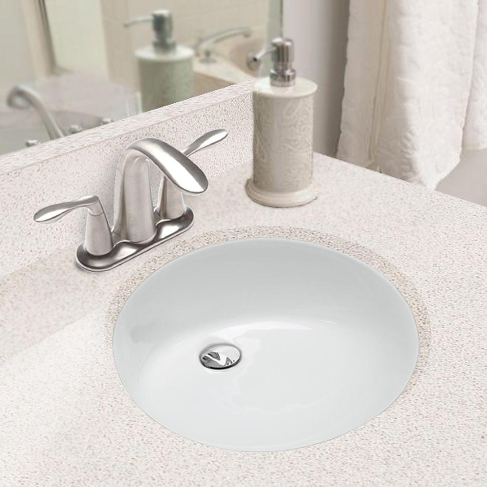 Hahn Ceramic White Medium Oval Bowl Undermount Bathroom Sink By