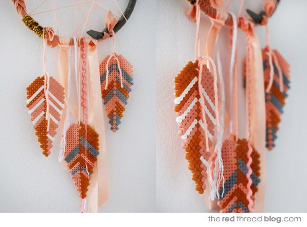 TUTORIAL :: Make a dream catcher with Hama bead feathers