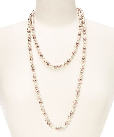 Look what I found on #zulily! Mocha & Pearl Bead Necklace by Embassy Jewels #zulilyfinds