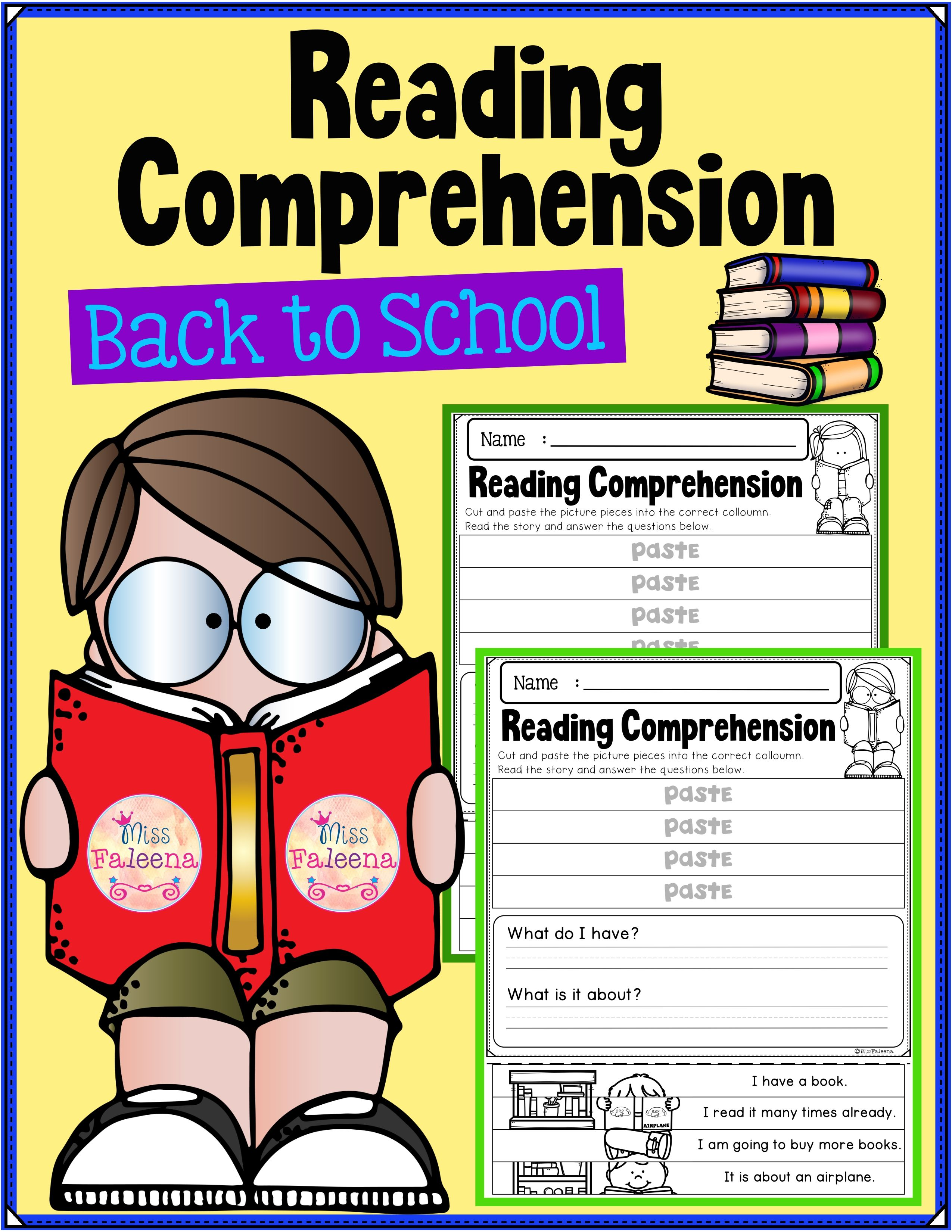 Back To School Reading Comprehension Puzzles