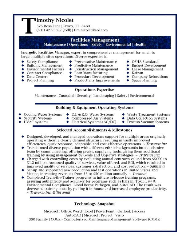 cover letter Good Samples Professional Resume Template - water manager sample resume