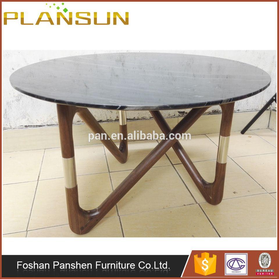Replica Designer Furniture Solid Ash Wood Legs Moebius Coffee Marble Top  Table