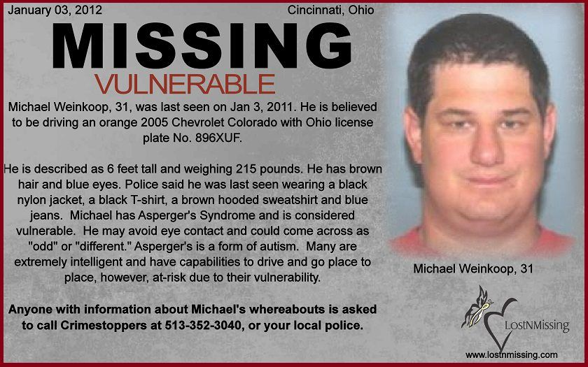 MISSING*** MICHAEL WEINKOOP, age 31, missing from CINCINNATI