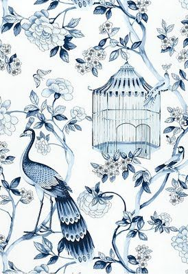 I Love This Blue And White Printed Fabric The Colours And The Combination Of Birds And Florals Reminds Me Of An Oriental Piece Which Maybe Chinoiserie Wallpaper Asian Wallpaper Chinoiserie