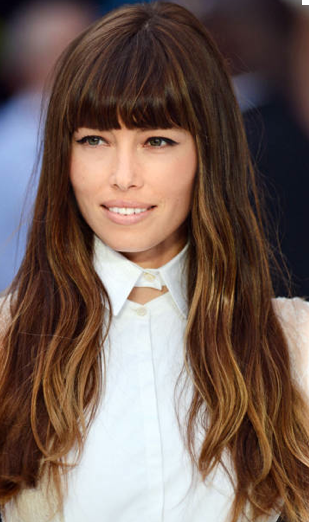 jessica biel long layered hair with ombre hair color and bangs