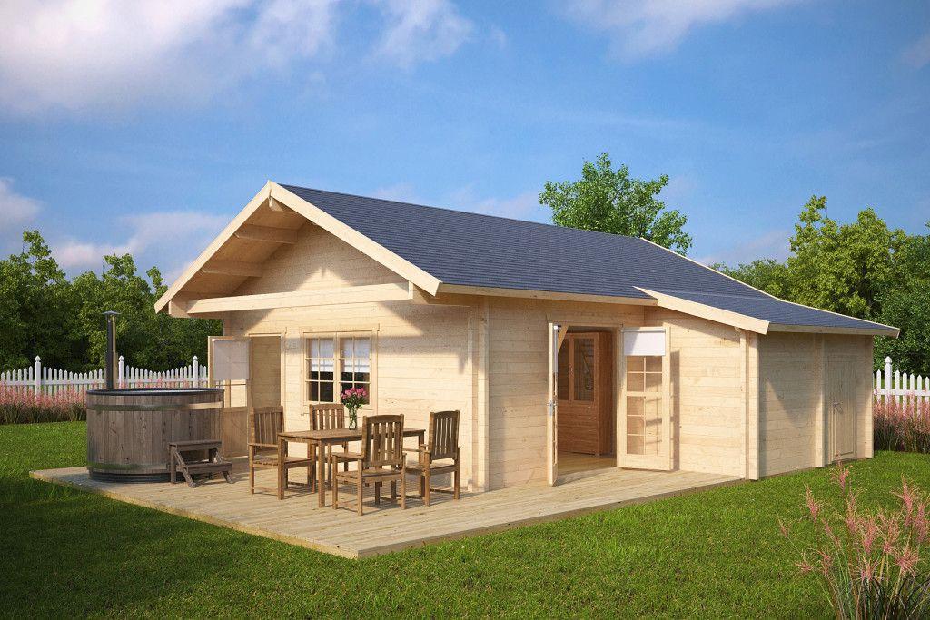 Grosses Gartenhaus Mit Terrasse Dallas 42 5m 70mm 7x7 Hansagarten24 Gartenhaus Gartenhaus Gross Haus