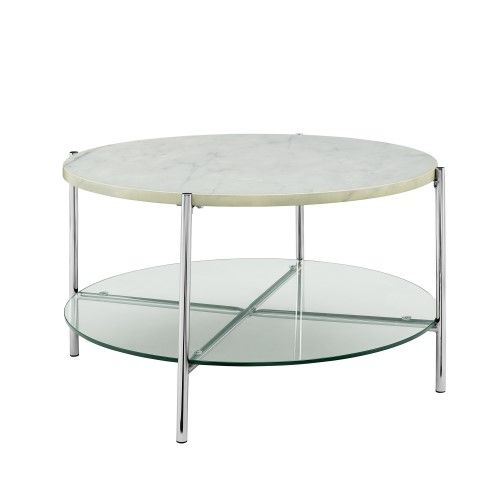 Walker Edison Furniture 32 Inch Round Coffee Table White Marble