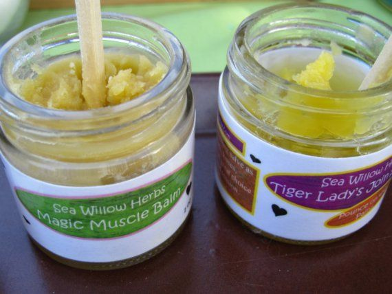Organic Herbal Relaxing Salve//Magic Muscle Balm by seawillowherbs, $20.00     INGREDIENTS: Lavender Essential Oil,Dandelion Flower infused oil,St. John's Wort (infused in olive oil)
