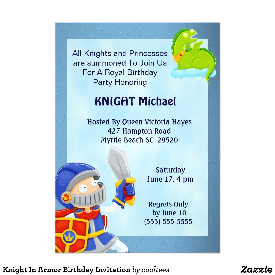 Knight In Armor Birthday Invitation | Knights & Dragons Birthday ...