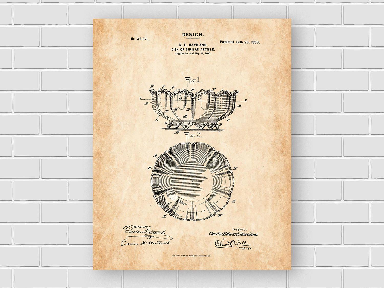 Dish patent print kitchen patent prints vintage kitchen decor