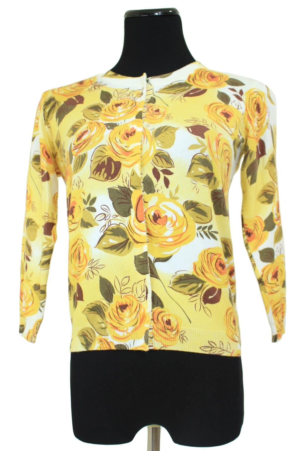 CAbi 465 Yellow Floral Snap Front Jo Cardigan Sweater Size S
