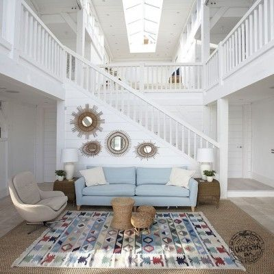 Living Room Interior with Staircase to Mezzanine of Contemporary ...